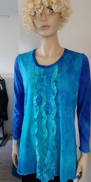 Viscose tricot tuniek met gerimpelde golvende bandjes