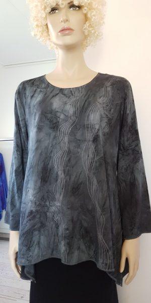 grijze viscose blouse met golvende stiksels