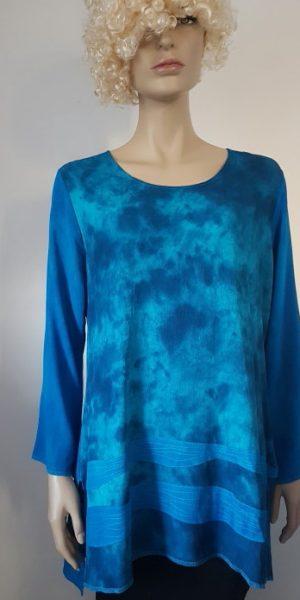 viscose blouse met golvende stiksels