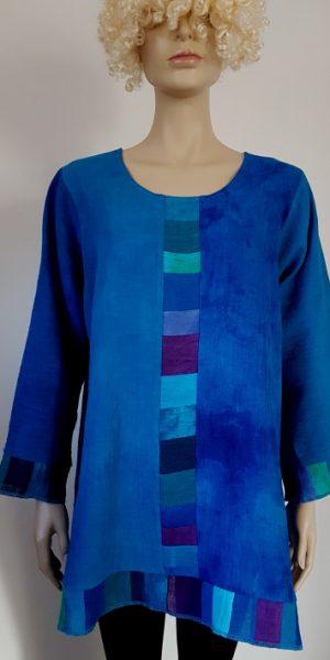 linnen blouse met patchwork stroken