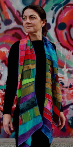 viscose sjaal met patchwork baantjes